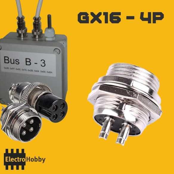 Conector GX16-4P Macho Panel