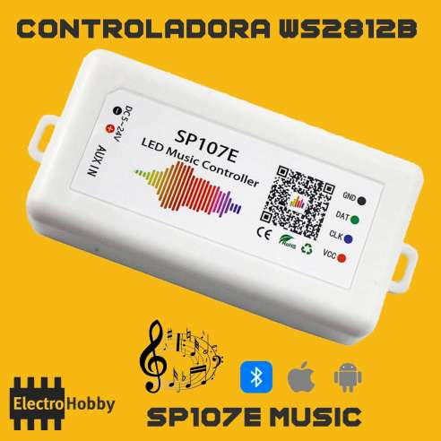 SP107E controladora WS2812B Bluetooth