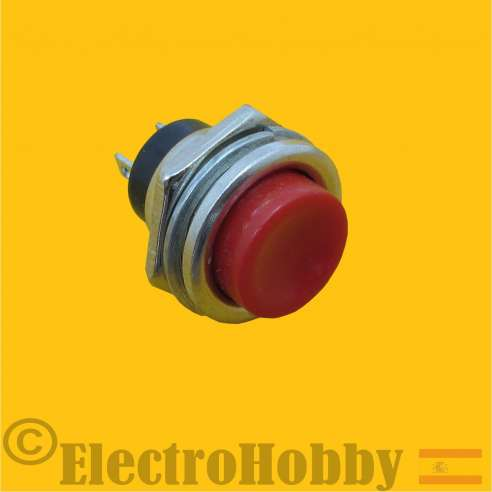 Pulsador Panel Rojo 16mm